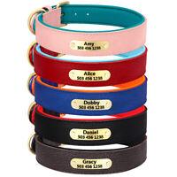 Personalisiert Graviert Hundehalsband Leder Halsband mit Namensschild Schwerlast