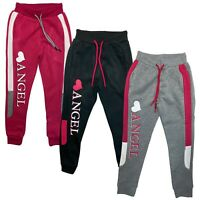 Girls Kids Panel Joggers Two Tone Jogging Bottoms Tracksuit Fleece Sport PE