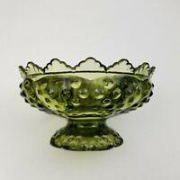 Vintage Fenton Colonial Green Hobnail Glass Pedestal Flower Bowl 6 Candle Holder