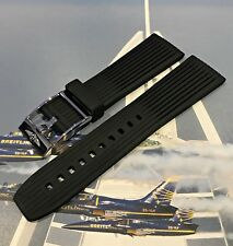 Genuine New Breitling BLACK Caoutchouc Navitimer Rubber Pin Strap 24-20mm 268S