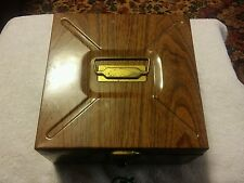 037 Vintage Metal Simulated Wood Grain Monthly File Cabinet Lock Box 9x9x4.5