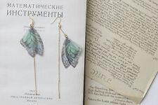 Boucles d`Oreilles  Doré Papillon Insect Bleu Fil Long Leger BB17