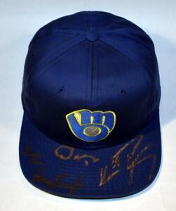 Milwaukee Brewers Authentic Autographed 90's Hat - Vina, Burnitz, Henry, Fetters