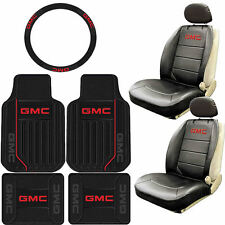 9PC BLACK FRONT REAR RUBBER FLOOR MATS SEAT COVERS STEERING WHEEL SET for GMC
