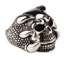Mens Antique Silver Skull Claw Finger Ring Bike Gothic Skeleton Punk Rock Gift