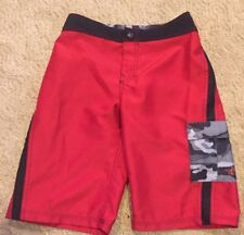 Boys Youth 10 North Face Board Shorts Red Black