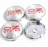 OZ Racing 4 x 60mm Silber Rot Chrome Alufelge Nabenkappen Nabendeckel