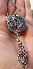 LOCKET Phoenix antico Photo medaglione Steampunk catena Gothic Coda Di Pavone Strass Peacock