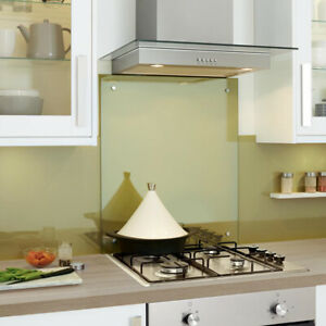 Clear Toughened Heat Resistant Kitchen Glass Splashback with Holes and Screws