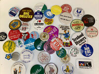 Vintage Lot of 40+ Miscellaneous Mixed Buttons / Pins Backs Collection