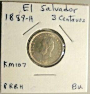 1889-H El Salvador 3 Centavos KM-107 - Great Condition BU