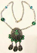 Gorgeous Art Deco Pot Metal Emerald Green Glass Stone Lavalier Pendant Necklace
