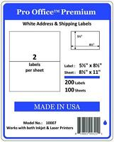 100 XL SHIPPING shipping LABELS 8.5 x 5.5 Blank