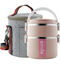 BENTO 2 Layers Stainless Steel Thermal Lunch box with Bag