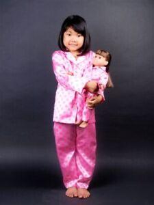 "Girls sz 4-14 and 18"" Doll Matching Satin PJ's set, fits American Girl"
