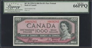 1954 Bank of Canada $1000 Devil's Face Banknote Cat#BC-36 Legacy Gem New 66 PPQ