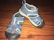 keen baby water shoes size 7 hook loop closure blue grey EUC boy girl