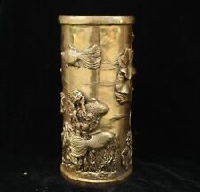 Chinese Palace Bronze Brass lotus Fish Royal Noble Brush Pot pencil vase Marked