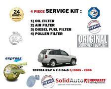 Per TOYOTA RAV 4 2.0 D4D 5/2005 -2006 Olio Aria Carburante Polline 4 Filtro Servizio Kit