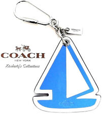 COACH Sailboat Keychain Blue White Nautical Beach Backpack or Bag Charm NWT $70