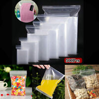 500Pcs Grip Resealable Zip Bags Self Seal Clear Plastic Polythene Freezer Bag US