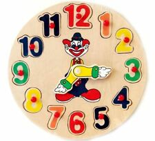 Wooden Clock Clown Puzzle Educational Toys Sorter Sorting Toy Birthday Christmas