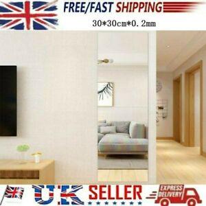 4x 30cm Mirror Tile Wall Sticker Stick-On-Art Square Self Adhesive Room Decor,UK