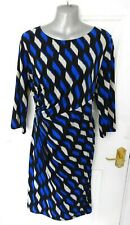 ❤ DEBENHAMS Size 18 Black Blue White Stretchy Occasion Dress Twist Detail Lined