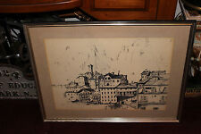 Vintage Charcoal Pencil Drawing-Signed Dan-Architectural Buildings Town-Large
