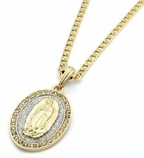 Mens Gold Plated Silver Stardust Oval Guadalupe Pendant 5mm Cuban Necklace Chain