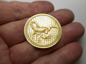 """Carved Golden SCORPION w/ Background & Rope Border Pearl New MOP Button 1-1/4"""""""