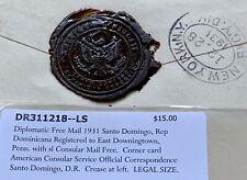 1931 DOMINICAN REPUBLIC US CONSULAR + WAX SEAL ! REGISTERED SANTO DOMINGO > PA !
