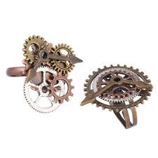 2pcs Punk Gothic Cogwheel Wristwatch Gear Multi Gears Finger Ring Adjustable