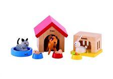 Set 3 Haustiere Puppenfamilie Puppenhaus Zubehör Kinder Holz NEU!