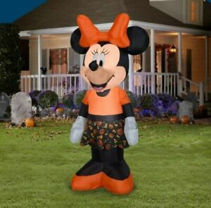 Disney Halloween 5 Ft Minnie Mouse Candy Corn Dress Airblown Inflatable Rare New