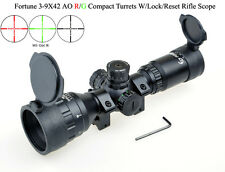 Fortune 3-9x42AO R/G Compact Long Eye Relief Rifle Scopes W/2 Kinds of Rings