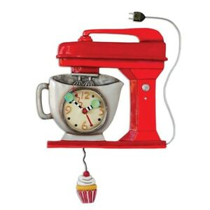 Vintage/Retro Red Mixer Wall Clock by Allen Designs w/Cupcake Pendulum NIB ~ F/S