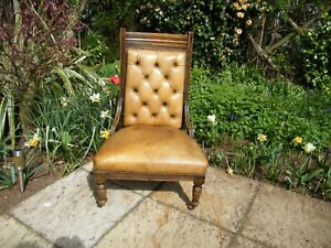 Stunning Antique Chesterfield Library Chair in Yellow Ocra Leather