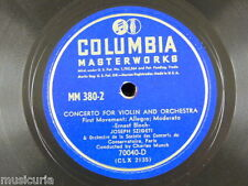 "78rpm 12"" BLOCH - SZIGETI - MUNCH concerto for violin , movements 1&3 only"