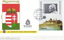 2004 - BLOC TIMBRE NUMEROTE SUR LETTRE.FDC 1° JOUR - PAPE JEAN PAUL II-BUDAPEST