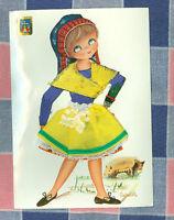 Vintage Postcard Made in Spain Castaner Embroidered Material Girl Pig   ? 1960's