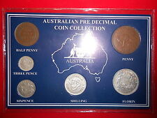 1938 AUSTRALIAN Pre Decimal 6 coin set IN SPECIAL CARD (very Nice) BIRTHDAY GIFT