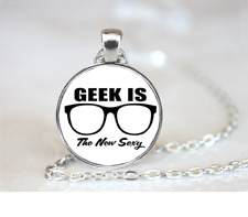 Geek Is The New Sexy PENDANT NECKLACE Chain Glass Tibet Silver Jewellery
