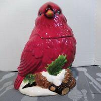 "Red Cardinal Bird Cookie Jar BY  Mercuries China Hand Painted 11""H Vintage"