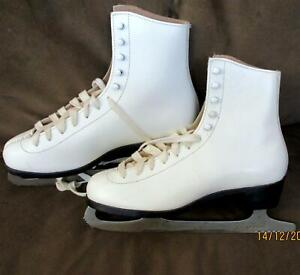 Vintage Aerflyte Womens Ice Skates SIZE 8 White Leather Steel #10 Figure Skating
