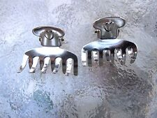 Vintage 2 Ea Mini Heart Claw Clips Silver Colored Metal 10 Tooth Made in USA 011