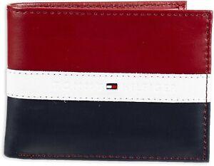 Tommy Hilfiger Men's Leather Americana Stripe Bifold Wallet Red-Navy