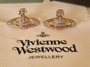 Vivienne Westwood rose gold tone Bas Relief Earrings New with Box