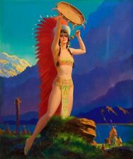 24x28 Canvas DRUM SONG Art Deco American INDIAN Maiden Maid GICLEE Pinup CANVAS