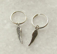 925 Sterling Silver Drop Dangle Angel Wing Hoop Sleepers Earrings